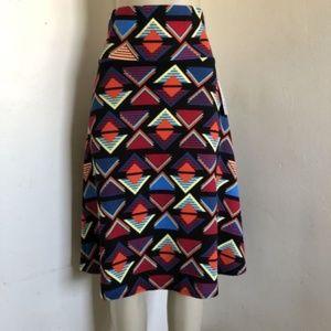 Lularoe XL Azure Skirt Red Blue Pink Triangle